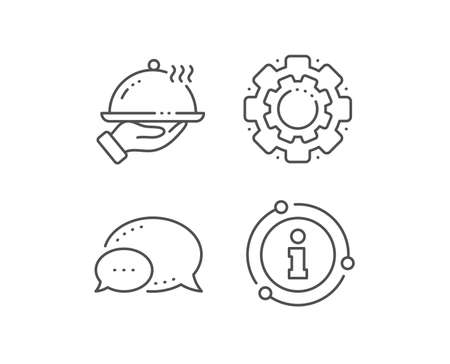 Restaurant food line icon. Chat bubble, info sign elements. Dinner sign. Hotel room service symbol. Linear restaurant food outline icon. Information bubble. Vector