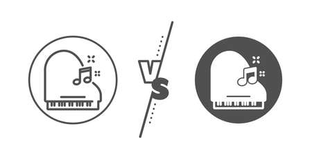 Musical instrument sign. Versus concept. Piano line icon. Music note symbol. Line vs classic piano icon. Vector Illustration
