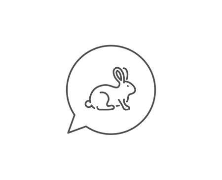 Animal tested line icon. Chat bubble design. Bio cosmetics sign. Fair trade symbol. Outline concept. Thin line animal tested icon. Vector 向量圖像