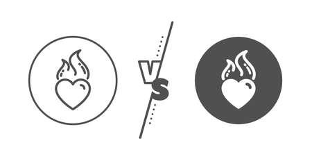 Love fire emotion sign. Versus concept. Heart flame line icon. Valentine day symbol. Line vs classic heart flame icon. Vector Standard-Bild - 136331318