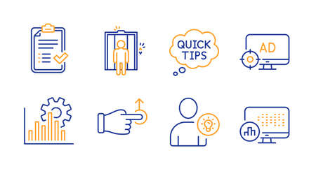 Drag drop, Seo adblock and Quick tips line icons set. User idea, Seo graph and Elevator signs. Approved checklist, Report statistics symbols. Move, Search engine. Technology set. Vector