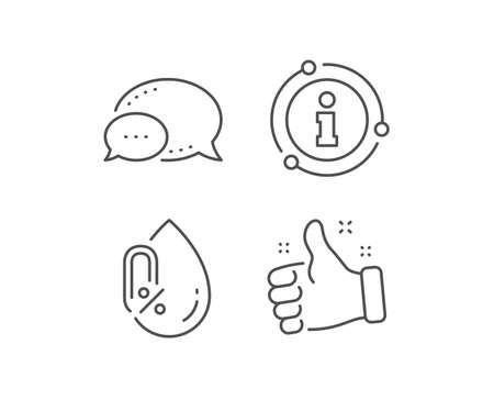 No alcohol line icon. Chat bubble, info sign elements. Organic tested sign. Water drop symbol. Linear no alcohol outline icon. Information bubble. Vector