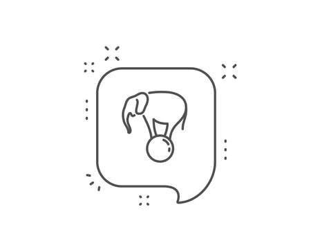 Elephant on ball line icon. Chat bubble design. Circus sign. Amusement park show. Outline concept. Thin line elephant on ball icon. Vector