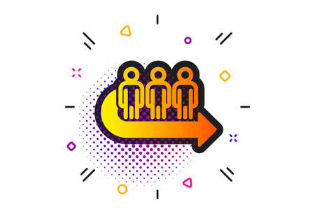 People waiting sign. Halftone circles pattern. Queue icon. Direction arrow symbol. Classic flat queue icon. Vector Illustration