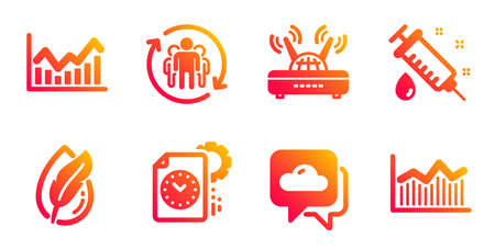 Teamwork, Project deadline and Wifi line icons set. Infochart, Hypoallergenic tested and Weather forecast signs. Medical syringe, Money diagram symbols. Employees change, Time management. Vector Illustration
