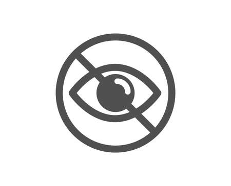 Not looking sign. No eye icon. Optometry vision care symbol. Classic flat style. Simple not looking icon. Vector Zdjęcie Seryjne - 136333762