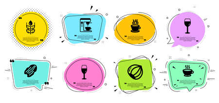 Coffee maker, Coffee cup and Pecan nut line icons set. Chat bubbles with quotes. Gluten free, Hazelnut and Wineglass signs. Tea cup, Wine glass symbols. Tea machine, Hot drink. Vector