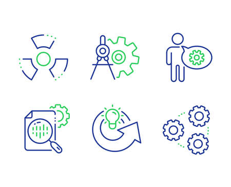 Cogwheel, Share idea and Seo stats line icons set. Chemical hazard, Cogwheel dividers and Gears signs. Engineering tool, Solution, Toxic. Settings. Science set. Line cogwheel outline icons. Vector