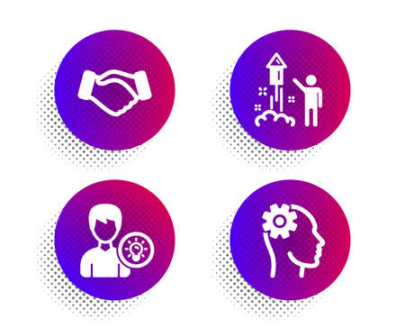 Fireworks, Person idea and Handshake icons simple set. Halftone dots button. Engineering sign. Party pyrotechnic, Lamp energy, Deal hand. Cogwheel head. People set. Classic flat fireworks icon. Vector