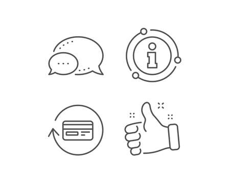 Credit card line icon. Chat bubble, info sign elements. Banking Payment card sign. Cashback service symbol. Linear refund commission outline icon. Information bubble. Vector