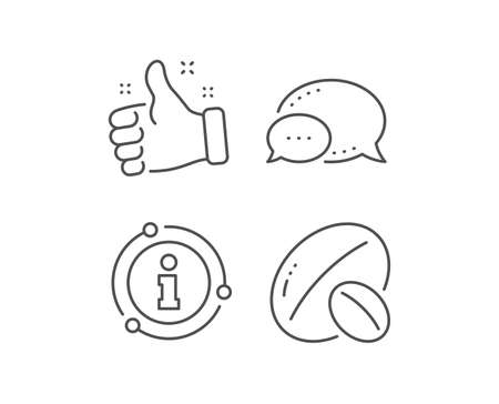 Soy nut line icon. Chat bubble, info sign elements. Tasty nuts sign. Vegan food symbol. Linear soy nut outline icon. Information bubble. Vector Ilustracja