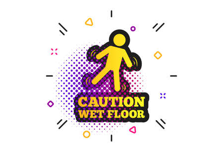 Caution wet floor sign icon. Halftone dots pattern. Human falling symbol. Classic flat slippery icon. Vector