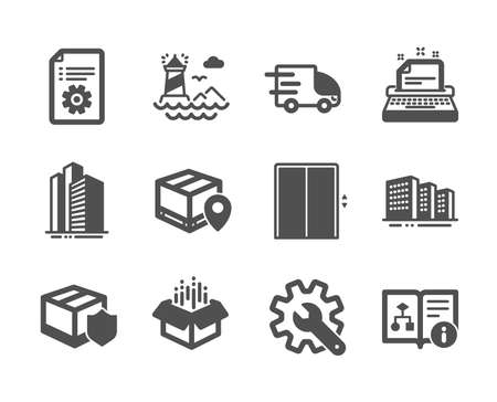 Set of Industrial icons, such as Technical documentation, Lighthouse, Skyscraper buildings, Delivery insurance, Open box, Buildings, Truck delivery, Typewriter, Parcel tracking, Lift. Vector Banque d'images - 136204844