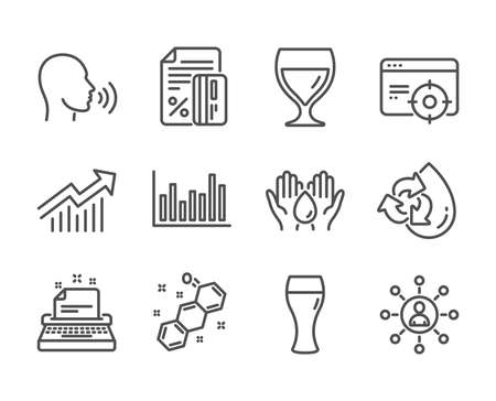 Set of Business icons, such as Recycle water, Bar diagram, Safe water, Chemical formula, Human sing, Networking, Credit card, Wine glass, Demand curve, Typewriter, Seo targeting. Vector