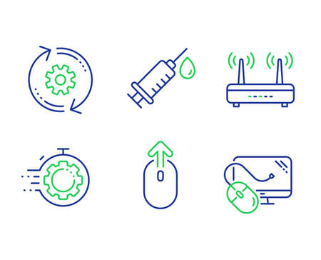 Swipe up, Cogwheel and Wifi line icons set. Medical syringe, Seo timer and Computer mouse signs. Scrolling page, Engineering tool, Internet router. Vaccination. Science set. Vector Illustration