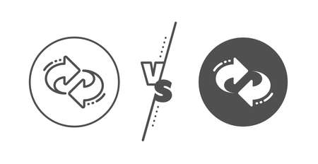 Rotation Arrowhead symbol. Versus concept. Refresh, change arrow line icon. Navigation pointer sign. Line vs classic refresh icon. Vector