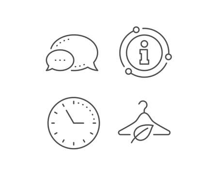 Slow fashion line icon. Chat bubble, info sign elements. Eco tested sign. Fair trade symbol. Linear slow fashion outline icon. Information bubble. Vector