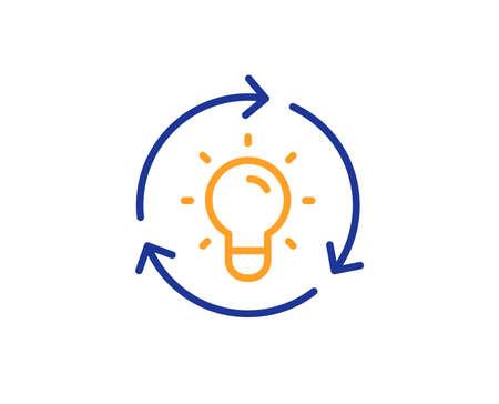Lightbulb sign. Idea line icon. Core value symbol. Colorful outline concept. Blue and orange thin line idea icon. Vector