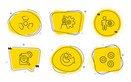 Chemical hazard, Cogwheel dividers and Gears signs. Chat bubbles. Cogwheel, Share idea and Seo stats line icons set. Engineering tool, Solution, Toxic. Settings. Science set. Vector Stock Vector - 136334659