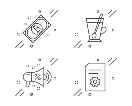 Bitcoin, Sale megaphone and Tea mug line icons set. File settings sign. Cryptocurrency coin, Shopping, Cup with teaspoon. File management. Business set. Line bitcoin outline icon. Vector Illusztráció