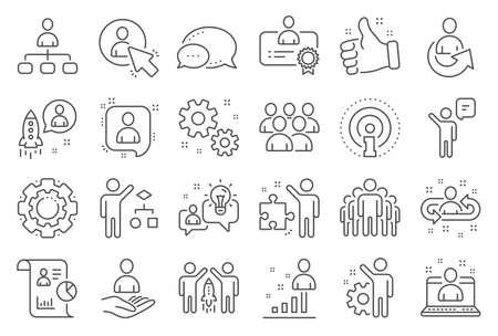 Ikony linii zarządzania. Zestaw audytu biznesowego, strategii uruchamiania i ikon pracownika. Strategia biznesowa, Startup i Praca zespołowa. Zarządzanie organizacją, raport i algorytm grupowy. Praca pracownika. Wektor