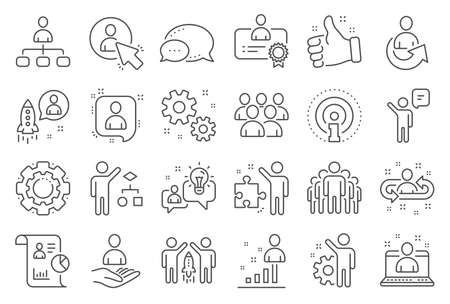 Management line icons. Set of Business audit, Startup strategy and Employee icons. Business strategy, Startup and Teamwork. Organization management, report and group algorithm. Employee job. Vector
