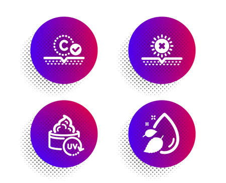 Uv protection, No sun and Collagen skin icons simple set. Halftone dots button. Water drop sign. Skin cream, Uv protect, Serum oil. Beauty set. Classic flat uv protection icon. Vector Vetores