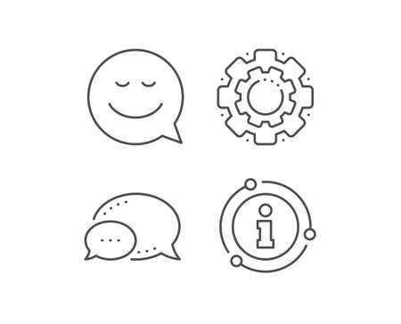 Comic speech bubble with Smile line icon. Chat bubble, info sign elements. Chat emotion sign. Linear smile outline icon. Information bubble. Vector