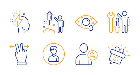 Touchscreen gesture, Find user and Fireworks line icons set. Ð¡onjunctivitis eye, Brainstorming and Person signs. Repairman, Smile symbols. Swipe, Search person. People set. Vector