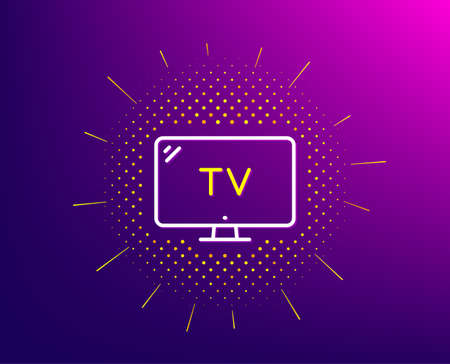 TV line icon. Halftone pattern. Television sign. Hotel service symbol. Gradient background. Tv line icon. Yellow halftone pattern. Vector