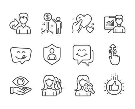 Set of People icons, such as Smile face, Yummy smile, Like hand, Income money, Health eye, Swipe up, Security, Collagen skin, Hold heart, Women headhunting, Presentation, Share line icons. Vector Illustration