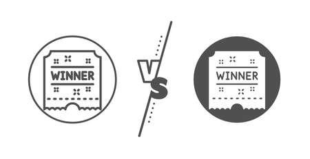 Amusement park award sign. Versus concept. Winner ticket line icon. Line vs classic winner ticket icon. Vector