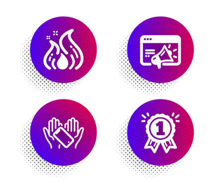 Smartphone holding, Seo marketing and Fire energy icons simple set. Halftone dots button. Reward sign. Phone, Megaphone, Flame. First place. Business set. Classic flat smartphone holding icon. Vector Illustration