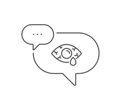 Ð¡onjunctivitis eye line icon. Chat bubble design. Oculist clinic sign. Optometry vision symbol. Outline concept. Thin line Ð¡onjunctivitis eye icon. Vector