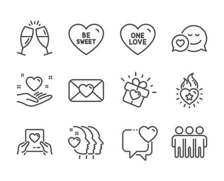 Set of Love icons, such as Heart, Dating, Heart flame, One love, Friendship, Love mail, Valentine, Champagne glasses, Be sweet, Friends couple line icons. Friendship, Trust friends. Heart icon. Vector  イラスト・ベクター素材