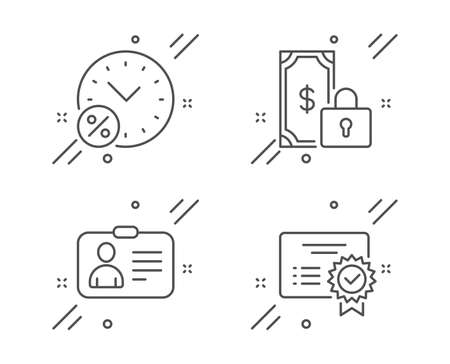 Loan percent, Private payment and Id card line icons set. Certificate sign. Discount, Secure finance, Human document. Verified document. Technology set. Line loan percent outline icon. Vector