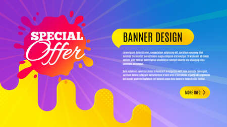 Special offer badge. Discount banner shape. Sale coupon splash icon. Abstract background design. Banner with offer badge. Vector Illusztráció
