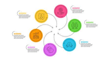 Ciblage d'entreprise, travail d'équipe des employés et ensemble d'icônes de ligne Safe Planet. Chronologie de l'infographie. Les développeurs discutent, les résultats du travail d'équipe et les panneaux de tickets d'amour. Vecteur
