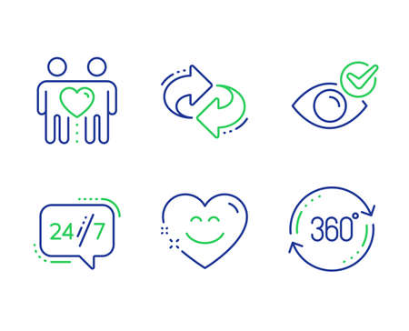 Smile chat, Friends couple and Check eye line icons set. 247 service, Refresh and Full rotation signs. Heart face, Friendship, Vision. Call support. Business set. Vector Ilustracja