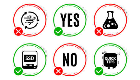 Ssd, Chemistry lab and Wind energy icons simple set. Yes no check box. Quick tips sign. Memory disk, Laboratory, Breeze power. Helpful tricks. Science set. Ssd icon. Check mark. Vector Ilustração