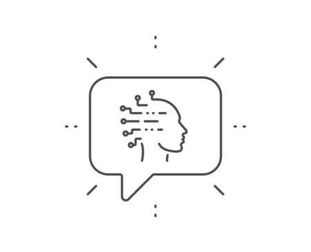 Artificial intelligence line icon. Chat bubble design. Ai head sign. Robotic intellect symbol. Outline concept. Thin line artificial intelligence icon. Vector