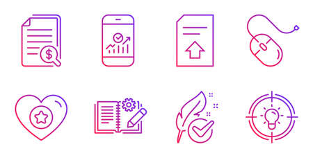 Engineering documentation, Upload file and Financial documents line icons set. Hypoallergenic tested, Heart and Smartphone statistics signs. Computer mouse, Idea symbols. Vector Illustration