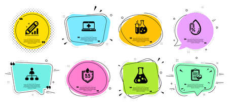 Ph neutral, Medical help and Chemistry flask line icons set. Chat bubbles with quotes. Chemistry lab, No alcohol and Edit statistics signs. Management, Medical prescription symbols. Vector 向量圖像