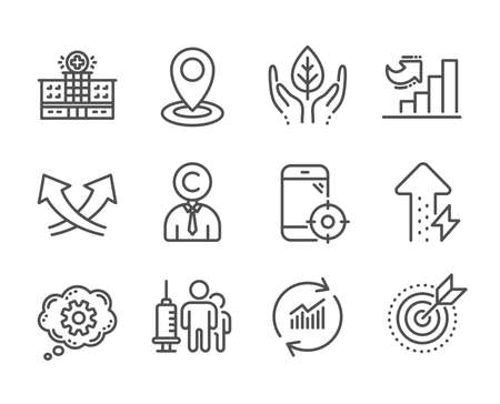Set of Science icons, such as Copyrighter, Energy growing, Hospital building, Seo phone, Target purpose, Cogwheel, Location, Update data, Medical vaccination, Fair trade, Growth chart. Vector