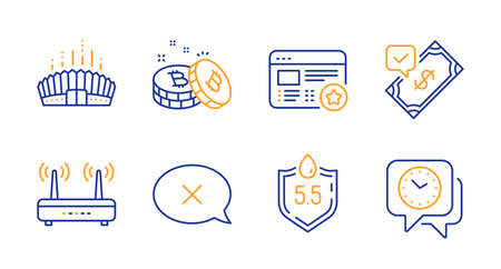 Reject, Favorite and Arena stadium line icons set. Wifi, Accepted payment and Ph neutral signs. Bitcoin, Clock symbols. Delete message, Star feedback. Line reject icon. Vector