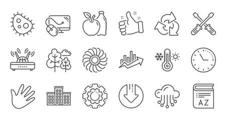 Company building, Fan engine and Profits chart line icons. Jet turbine, Wind energy and Cloud services. Linear icon set. Quality line set. Vector Ilustração