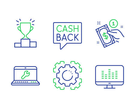 Laptop repair, Winner podium and Seo gear line icons set. Payment method, Money transfer and Music making signs. Computer service, Competition results, Cogwheel. Give money. Vector Stock Vector - 136206039