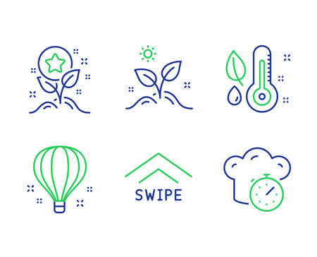 Swipe up, Loyalty points and Grow plant line icons set. Thermometer, Air balloon and Cooking timer signs. Scrolling arrow, Bonus grows, Leaves. Grow plant. Business set. Vector