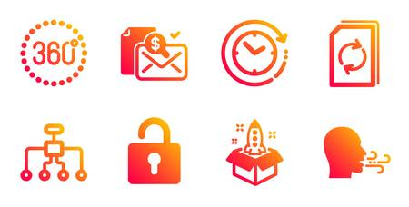 Startup, Restructuring and 360 degrees line icons set. Time change, Accounting report and Update document signs. Lock, Breathing exercise symbols. Innovation, Delegate. Technology set. Vector Çizim