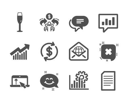 Set of Business icons, such as Dollar exchange, Web mail, Sharing economy, Demand curve, Analytical chat, Text message, Swipe up, Document, Champagne glass, Smile chat, Seo graph, Reject. Vector